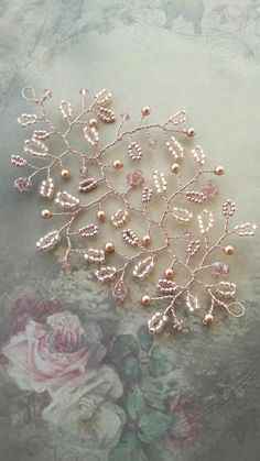 Rose gold blush pink wedding hair vine, bridal hair vine accessory with Swarovski crystal pearl elements, Head piece, Bridesmaid headdress by OdesiaMayJewellery on Etsy Headpiece Wedding, Bridal Headpieces, Beidesmaid Hair, Blush Pink Weddings, Bridal Hair Vine, Rose Gold Hair, Beads And Wire, Wedding Hair Accessories, Wedding Hairstyles