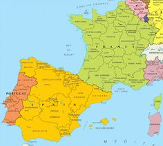 Map of Spain and France and sub-regions