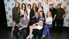 11 Jul 2015 San Diego Comic-Con  L-R: Sophie Turner (Sansa), Carice van Houten (Melisandre), Executive Producer Carolyn Strauss, Hannah Murray (Gilly), Liam Cunningham (Davos Seaworth), Gwendoline Christie (Brienne), John Bradley (Sam Tarly), Director David Nutter, Natalie Dormer (Queen Margaery), Maisie Williams (Arya), Conleth Hill (Lord Varys), Alfie Allen (Theon/Reek)  Credit: FilmMagic http://www.makinggameofthrones.com/production-diary/2015-san-diego-comic-con-panel