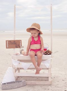 She sells seashells by the seashore :) Use doll or mannequin on lake crate of sea shells or use this photo. Summer Fun, Summer Time, Pink Summer, Summer Breeze, Summer Beach, Hello Summer, Beach Bum, Cute Kids, Cute Babies