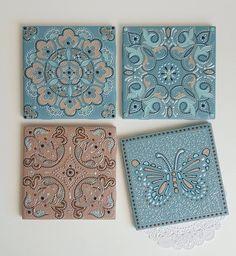 Some new #ceramic #tiles made to #customorder  They can be used as the coasters, but in this case they will decorate a wall. ___ Новые плиточки #назаказ  Нежные, легкие, с серебристой росписью. Их можно использовать как подставки под стаканы, но в данном случае они украсят стену. ___ #styleyourhome #walldecor #decorinterior #coasters #handmade #delicate #blue #pink #beige