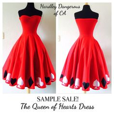 Sample Sale, Red Queen of Hearts Strapless Rockabilly Swing Dress, Pin Up Valentines Day Dress, Poker Night, Las Vegas Birthday, Size XS