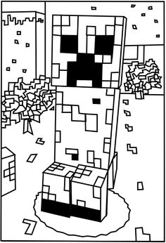 Printable Minecraft Creeper coloring pages.