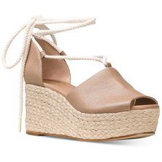 Michael Michael Kors Hastings Lace-Up Wedge Sandals ($109) ❤ liked on Polyvore featuring shoes, sandals, dark khaki, lace up espadrilles, platform wedge sandals, lace up wedge sandals, wedge espadrilles and ankle wrap sandals