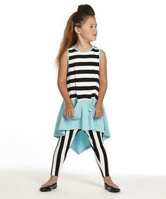 Black & White Melinda Tunic & Leggings - Toddler & Girls #zulily #zulilyfinds