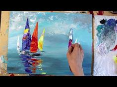 Easy abstract painting demonstration for beginners using acrylic paints Sailboat Art, Sailboat Painting, Abstract Painting Easy, Canvas Painting Tutorials, Art Day, Sail Boats, Paintings, Crafts, Ideas
