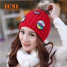 New 2014 Winter Cap Women Warm Hand hook rabbit fur Knitted Hat For Gilrs Elastic Beanie Cap Woman Accessories