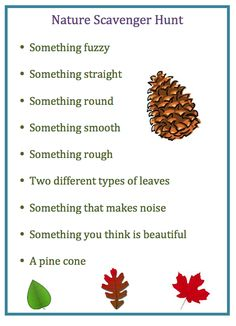 Nature Scavenger Hunt - Pinned by @PediaStaff. - Please Visit ht.ly/63sNt for all our pediatric therapy pins