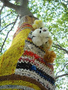 Isabelle Garbani seems to have solved the outdoor knitting conundrum -- knitting with plastic bags repurposed as yarn!  That way they are (comparatively) weatherproof, resolving some of the soggy muck issues I complained about in a pin months ago in which I kind of trashed yarn-bombing.  I want to go see the Knit for Trees project on Governor's Island ...