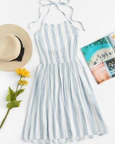 Striped Pleated Back Halter Dress - Summer Dresses Prom Dresses With Sleeves, Modest Dresses, Trendy Dresses, Cute Dresses, Casual Dresses, Cute Outfits, Halter Dresses, Modest Clothing, Party Dresses