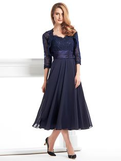 A-line Mother of the Bride Dress - Dark Navy Tea-length 3/4 Length Sleeve Chiffon / Lace - USD $109.99