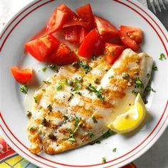 Grilled Tilapia Piccata Recipe -We aren't big fish eaters, but a friend made this for us, and we couldn't believe how wonderful it was! Now we eat it regularly. I love making it for guests because it's simple, looks lovely and tastes restaurant-worthy. —Beth Cooper, Columbus, Ohio