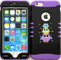 """Amazon.com: Purple, Black and Green """"Cute Stacked Owls with Non-Slip Grip Texture"""" 3 Piece Layered ULTRA Tuff Custom Armored Hybrid Case for the NEW iPhone 6 Plus 5.5"""" Inch Smartphone by Apple {Made of Soft Silicone Gel and Hard Rubberized Plastic with External Built in Kickstand} """"All Ports Accessible"""": Cell Phones & Accessories"""