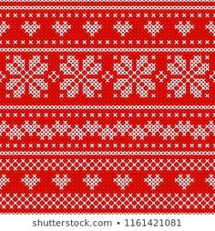 Red Holiday seamless pattern with cross stitch embroidered happy new year ornament (heart and snowflake). Christmas scheme endless design for package, web sites, textile. Fair Isle Knitting, Seamless Background, Illustrations, Royalty Free Images, Cross Stitch, Ornament, Crochet, Pattern, Winter Holiday