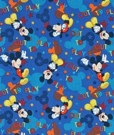 Springs Creative Disney Mickey Out To Play Toss Fabric - $6.4   onlinefabricstore.net