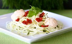 Raw vegan spaghetti dish at Pure Juice Cafe. Www.purejuicecafe.com