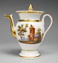 Biedermeier-KaffeekanneWeiß, glasiert. In polychromer Bemalung vor- u. rücks. Landschaft mit Archi — Porzellan