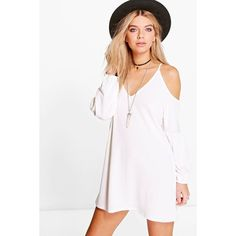 Boohoo Sophie Cold Shoulder Bell Sleeve Dress ($26) ❤ liked on Polyvore featuring dresses, cream, cold shoulder dress, layering cami, white cami dress, holiday dresses and bodycon cocktail dress