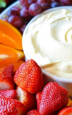 The Best Fruit Dip Ever-- yogurt, vanilla pudding mix, and cool whip.