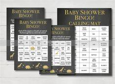 Safari Baby Shower bingo - Baby shower chalkboard - Juegos baby shower - Bingo - printable - imprmibles - Fiesta bebe - bebe chico by LaminitasPrintables on Etsy