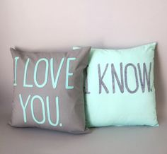 Dorky but Cute Wedding Gift  Star Wars Pillow Covers  Grey & Mint  Set of 2 16 x16  by betawife, $90.00