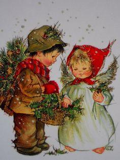 Vintage Christmas Greeting Card Angel Boy w A Basket of Holly Glitter EZ   eBay
