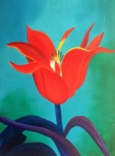 Colorful bright red flower oil painting on Etsy, $55.00