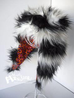 Fuzzy Monster Aviator hat BURTON STRIPES Super by MostlyMonstersCV, $35.00