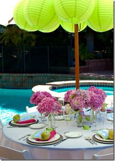 Chinese paper lanterns can be hung inside a garden parasol to decorate the interio