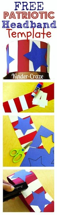 Instructions and template to create a Patriotic Headband Celebrate Constitution Day in your kindergarten classroom with FREE patriotic headbands by Kinder Craze! Kindergarten Social Studies, Kindergarten Classroom, Classroom Ideas, Patriotic Crafts, July Crafts, Patriotic Symbols, Constitution Day, American Symbols, American Flag