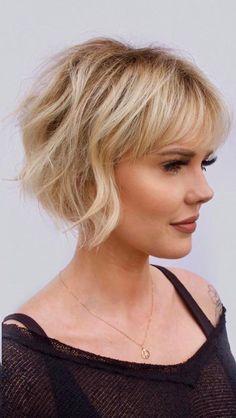 Haircuts For Fine Hair, Haircut For Thick Hair, Short Hair With Bangs, Short Hair With Layers, Haircuts With Bangs, Wispy Bangs, Chin Length Hairstyles, Bobs For Fine Hair, Blonde Bob With Bangs