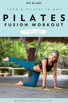 Pilates Fusion Workout - Boho Beautiful This 20 min yoga workout class is aimed to help you tone and strengthen the legs and core Cardio Pilates, Pilates Workout Routine, Pilates Reformer Exercises, Pop Pilates, Pilates Video, Pilates For Beginners, Beginner Pilates, Workout Classes, Beginner Workouts