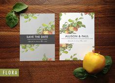 Wedding Invitation & RSVP file - Flora: Rustic, Garden, Orchard, Vineyard, Romantic Customizable Suite