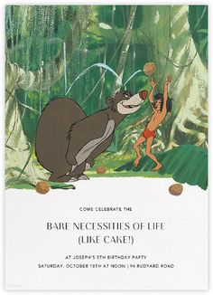 """""""Bare Necessities"""" by Paperless Post. Online Jungle Book invitations for kids' birthdays with easy-to-use design tools and RSVP tracking. View other Disney invitations on paperlesspost.com/disney."""