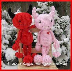 New Pattern: Devils in Love for Valentine ~ Amigurumi crochet patterns ~ K and J Dolls / K and J Publishing