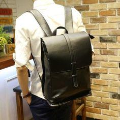Men PU Leather Backpacks Men's Fashion Backpack Travel Bags Western College Style Bags Mochila Feminina