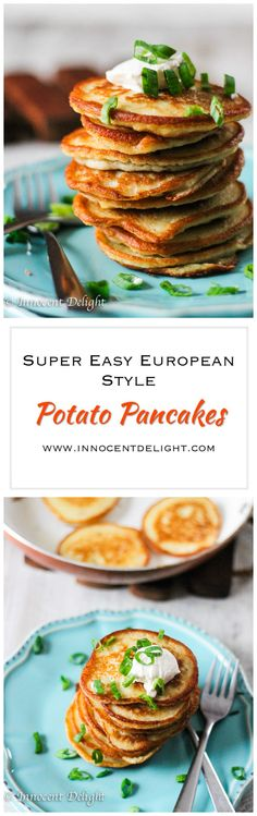 "Super Easy European Style Potato Pancakes – this popular dish can be found across Europe: In Poland, Germany, Czech Republic etc as well as in every Jewish deli, known as ""Potato Latkes"". Check this recipe for super easy way to make them. No shredding of potatoes involved."