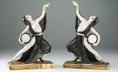 C1930S PAIR OF ART DECO PORCELAIN DANCERS BY JEAN BORN ROBJ PARIS