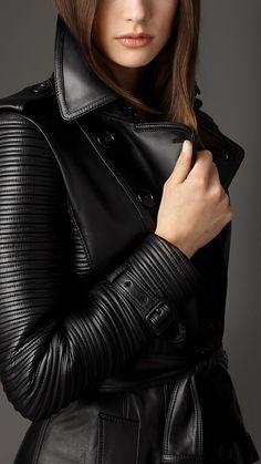 Burberry Long Lambskin Biker Trench Coat in Black - Lyst Winter Coats Women, Coats For Women, Jackets For Women, Leather Trench Coat, Burberry Trench Coat, Leather Jackets, Used Clothing, China Clothing, Apparel Clothing
