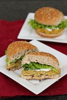 Lemon Chickpea Quinoa Burgers.  *Yum!!  Super tasty. I combined the feta and the sauce and used arugula. Good combo.