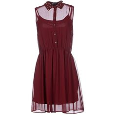 Pepe Jeans Short Dress ($95) ❤ liked on Polyvore featuring dresses, maroon, red slip, sleeveless dress, red mini dress, slip dress and red slip dress