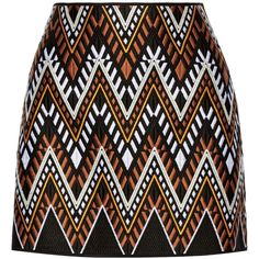DKNY Embroidered cotton-blend mini skirt found on Polyvore