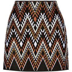 DKNY Embroidered cotton-blend mini skirt ($180) ❤ liked on Polyvore featuring skirts, mini skirts, bottoms, saias, faldas, orange, embroidered skirt, short mini skirts, mini skirt and embellished skirt