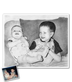 Hand Drawn Pencil Sketch from Photos - Brotherly laughs.nothing makes my heart melt quite like this. Beautiful Pencil Sketches, Cool Sketches, Pencil Sketch Portrait, Pencil Drawings, Sketch Paper, Portraits From Photos, Hand Drawn, How To Draw Hands, Fine Art Prints
