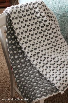 crocheted double-sided shell blanket