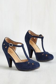 The Zest is History Heel in Navy. Team these playful navy T-straps up with  your dynamic dance moves and watch as magic unfolds!