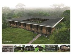 """The design for Fundecor's headquarters is appropriately located in the midst of a forest. The nonprofit organization aims to """"contribute to sustainable management of natural resources and improve quality of life"""" in rainforest regions.  Accordingly, the knowledge center will inform its users about the management of woodlands and the benefits to develop an economy dependent on forestry services, while promoting environmental conservation."""