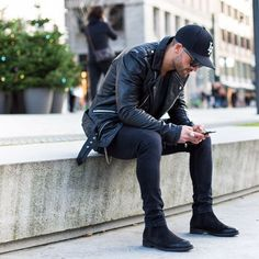 Chelsea boots all black men street style brought to you by Tom Maslanka #chelseaboots