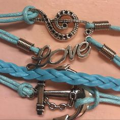 Love/music note infinity bracelet Leather w charms as shown. Adj from about 7 to 9 inches Jewelry Bracelets