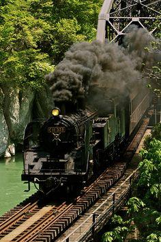 Tadami Line, Fukushima, Japan.................SL会津只見新緑号/Fresh green SL of Aizu, Tadami by u_ran2008, via Flickr